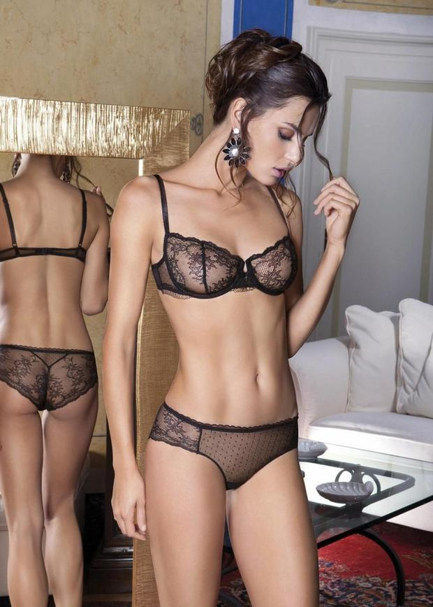 Catrinel Menghia in lace bra and panties; Lingerie Panties