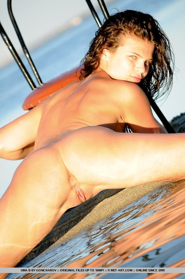 Golden sunset light; Babe Brunette Beach Shaved Pussy