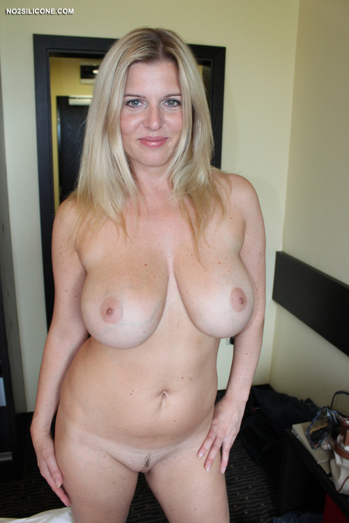 Blonde milf with big natural tits