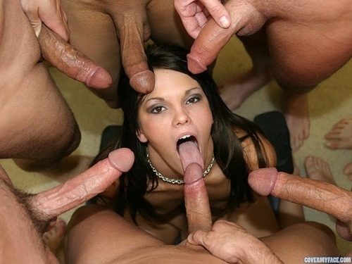 ...; Blowjob Brunette Bukkake Gang Bang Group Sex