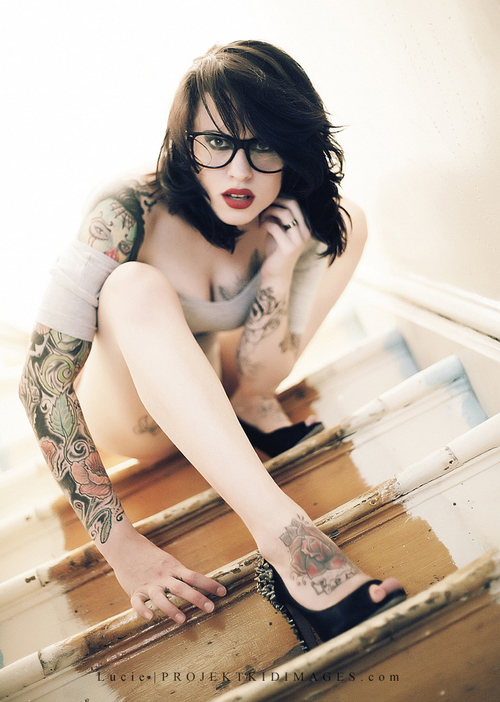 ...; Brunette Glasses Tattoochick