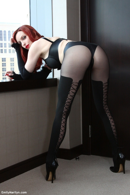 lace up stockings; Female Friendly Red Head Softcore